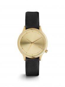 Dámské hodinky ve zlaté barvě s černým koženým páskem Komono Estelle
