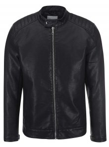 Černá koženková bunda ONLY & SONS James