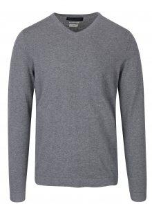 Šedý lehký svetr s véčkovým výstřihem Jack & Jones Luke