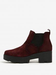 Vínové semišové chelsea boty na podpatku OJJU