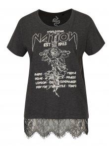 Tmavě šedé tričko s potiskem Nation a krajkou ONLY Prince
