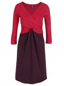 Růžovo-fialové šaty s překládaným výstřihem Tranquillo Jeanie