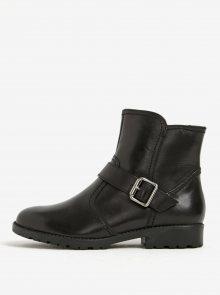 Černé zimní kožené kotníkové boty s přezkou Tamaris
