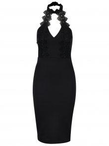 Černé pouzdrové šaty s krajkovým chokerem Ax Paris
