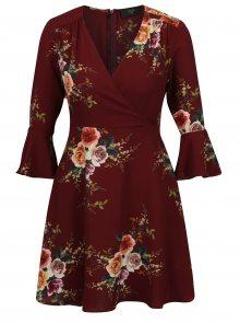 Vínové květované šaty s 3/4 zvonovým rukávem AX Paris