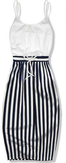 Bílo-modré pruhované šaty