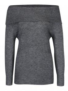 Tmavě šedý svetr s odhalenými rameny Jacqueline de Yong Alice