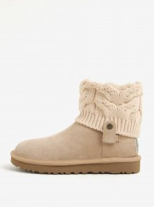 Béžové zimní semišové voděodolné kotníkové boty UGG Saela