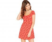 Forever 21 Dámské šaty Key Print Skater Dress - růžové S