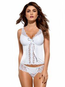 Korzet Etheria corset - Obsessive L/XL bílá