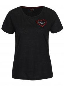 Černé tričko s výšivkou srdce ONLY Evelyn
