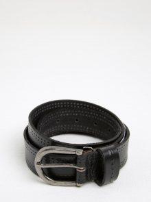 Černý kožený pásek se sponou Pieces Johanne