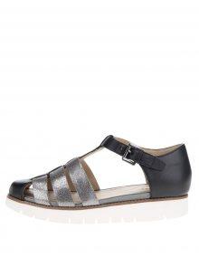 Černé dámské kožené sandály s pásky ve stříbrné barvě Geox Darline