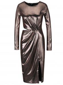 Růžové metalické šaty s průstřihem na boku Miss Selfridge