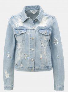 Světle modrá džínová bunda s korálkovými aplikacemi Miss Selfridge